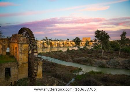 roman bridge from cordoba - stock photo