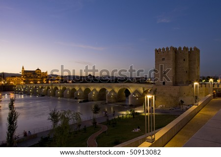 Roman bridge with Calahorra tower at night, Cordoba, Andalusia, Spain - stock photo