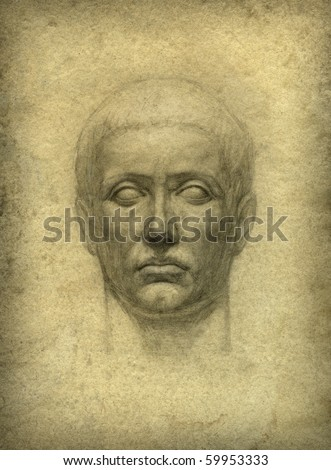 Roman bust. Pencil on paper. - stock photo