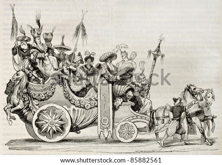Roman carnival chariot old illustration. Created by Vien, published on Magasin Pittoresque, Paris, 1842 - stock photo