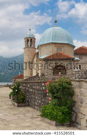 Roman Catholic Church of Our Lady of the Rocks. Bay of Kotor, Montenegro - stock photo