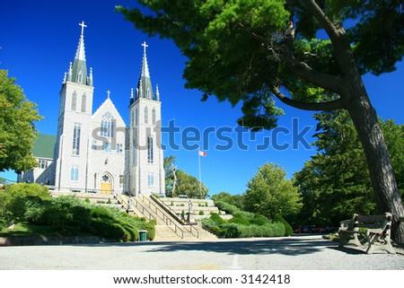 Roman Catholic Shrine of Sainte-Marie-Among-the-Huron. - stock photo