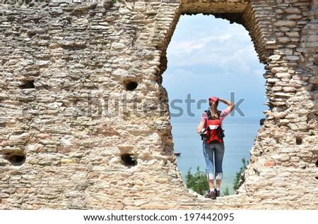 Roman Catullus villa archaeological excavations in Sirmione, Garda, Italy - stock photo