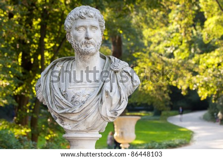 Roman ceasar burst in the park - stock photo