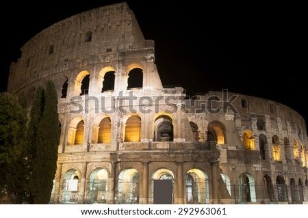 Roman Coliseum at night in Rome, Italy