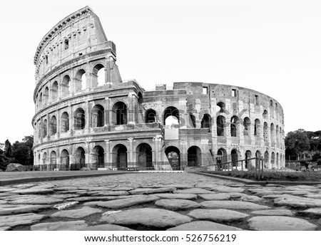 Roman Colosseum in Italy, during the day in black and white