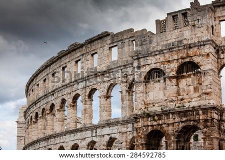 Roman Colosseum in Pula, Croatia - stock photo