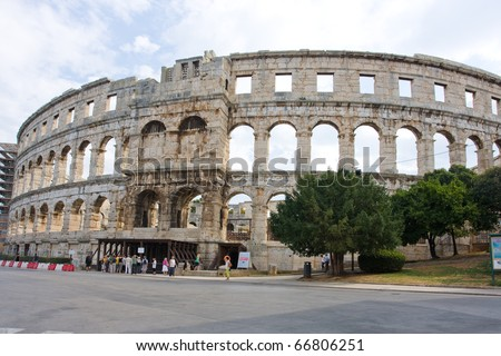 roman Colosseum in Pula, Croatia - stock photo