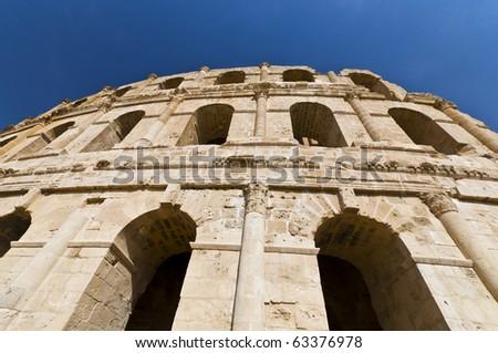 Roman Colosseum in Tunisia - stock photo