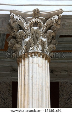 roman columns close up - Roma Italy - stock photo