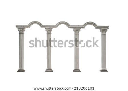 Roman columns gate isolated on white with Clipping Path  - stock photo