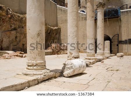 Roman columns in Jerusalem - very large photos - stock photo