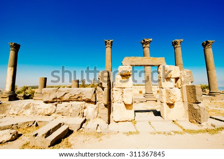Roman columns in the Ancient city of Gadara, modern Jordan