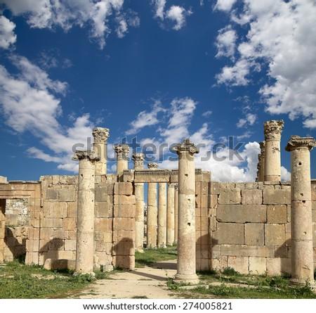 Roman Columns in the Jordanian city of Jerash (Gerasa of Antiquity), capital and largest city of Jerash Governorate, Jordan  - stock photo