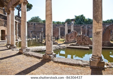 Roman columns in Villa Adriana, Tivoli, Italy - stock photo