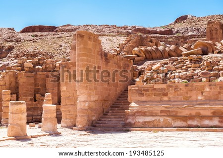 Roman columns of the Great temple complex in Petra (Rose City), Jordan. The city of Petra was lost for over 1000 years. Now one of the Seven Wonders of the Word - stock photo