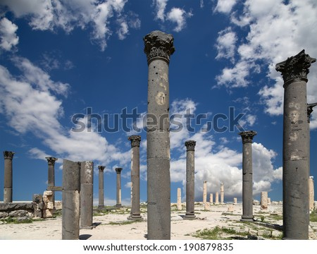 Roman Corinthian columns in Umm Qais (Umm Qays) --is a town in northern Jordan near the site of the ancient town of Gadara. Umm Qais is one of Jordan's most unique Greco Roman Decapolis sites