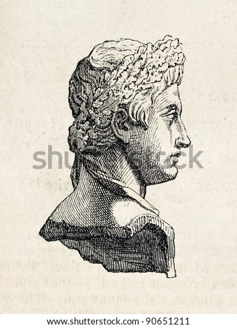 Roman emperor Augustus marble bust kept in Louvre museum, old illustration. By unidentified author, published on L'Illustration, Journal Universel, Paris, 1858 - stock photo