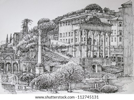 Roman Forum cityscape painted by ink - stock photo