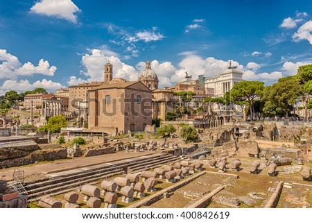Roman Forum - Forum (Square) in the heart of ancient Rome. Rome. Italy. - stock photo