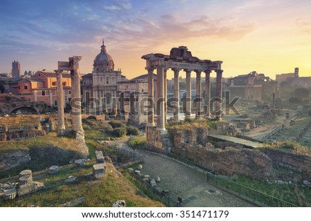 Roman Forum. Image of Roman Forum in Rome, Italy during sunrise. - stock photo