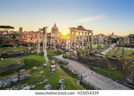 Roman Forum. Image of Roman Forum in Rome, Italy during sunrise. - stock photo