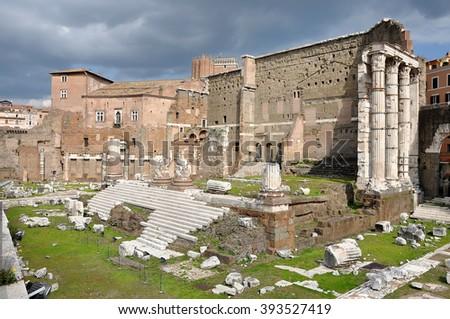 Roman forum. Imperial forum of Emperor Augustus. Rome, Italy - stock photo