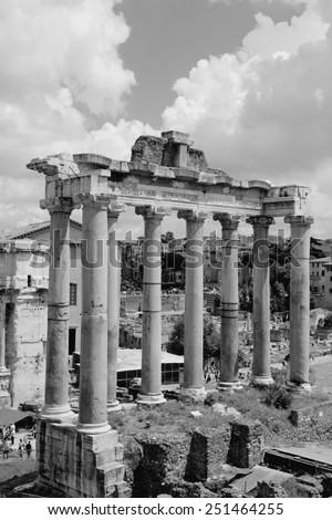 Roman Forum in Rome, Italy. Black and white retro style - monochrome color tone. - stock photo