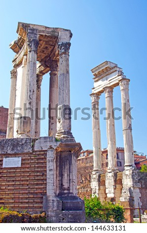 Roman forum in Rome (Temple of Vesta and Temple of Castor and Pollux)