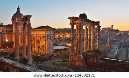 Roman Forum, or Forum Romanum, as seen from the Capitolium hill - stock photo