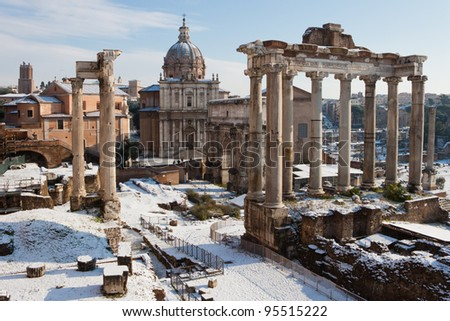 Roman Forum with snow. - stock photo