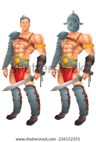 Roman Gladiator cartoon concept 1 isolated - stock photo