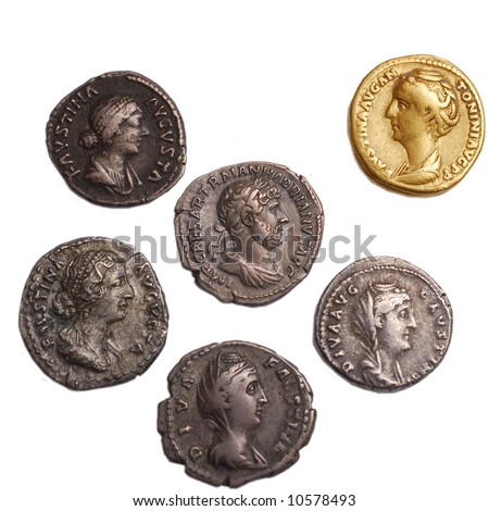 roman gold and silver coins isolated on white - stock photo
