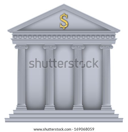 Roman/Greek Temple with ionic columns, money symbol , high detailed with outline - stock photo
