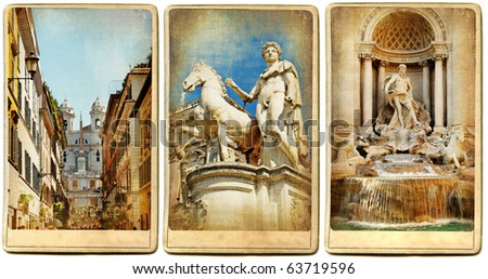 Roman holidays - vintage cards series - stock photo