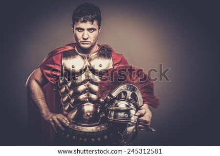 Roman legionary soldier in amour  - stock photo