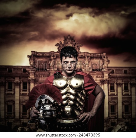Roman legionary soldier in front of Trevi fountain - stock photo