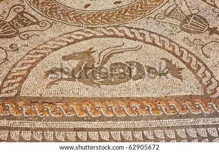 Roman Mosaic Background with Mythological Beast. - stock photo