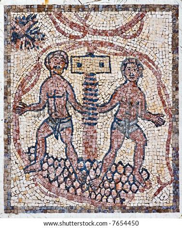 Roman Mosaic, grapes-press - stock photo