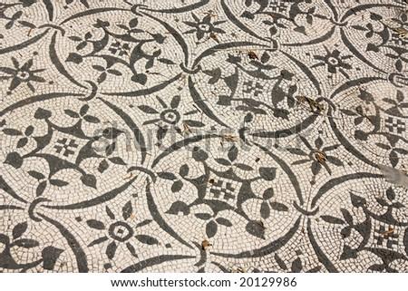 Roman mosaics at Villa Adriana, near Rome, Italy - stock photo