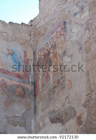 Roman mural cover on Egyptian relief in Luxor temple, Egypt