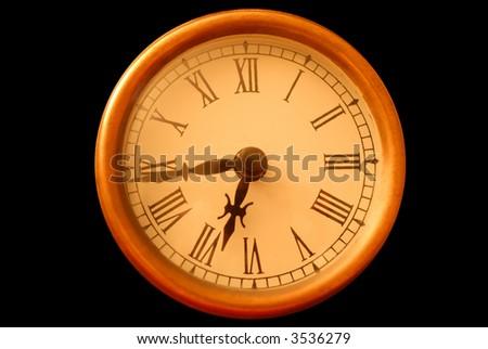 Roman Numeral clock (black isolation) - stock photo