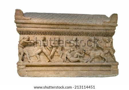 Roman period marble attic sarcophagus found in Peloponnese, Greece shows the hunt for the Calydonian boar. - stock photo