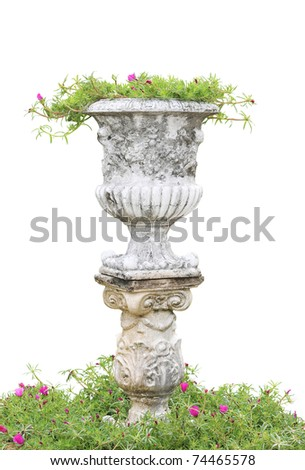 Roman pillars gardening (build your own small garden with potted plants) - stock photo