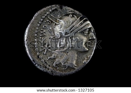 Roman republican denarius of M. Sergius Silus. 116 BC.  Helmeted head of Roma right ,Roma behind.