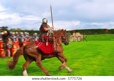 Roman Round Up Action Blur - stock photo