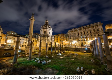 Roman ruines during evening hours in Rome Italy - stock photo