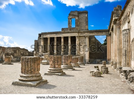 Roman ruins after the eruption of Vesuvius in Pompeii, Italy - stock photo