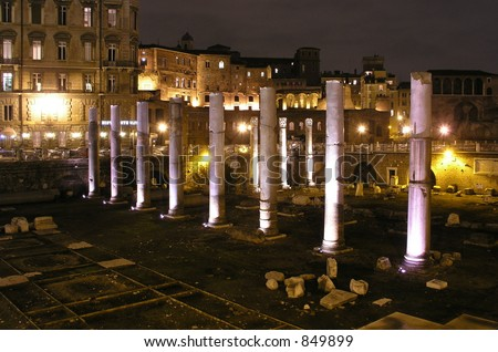 Roman Ruins at night, Rome, Italy - stock photo