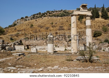 Roman ruins in Ephesus Turkey - stock photo